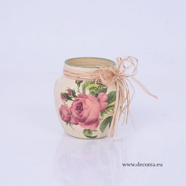 1005-ID. Винтидж стъклена ваза, кашпа Рози