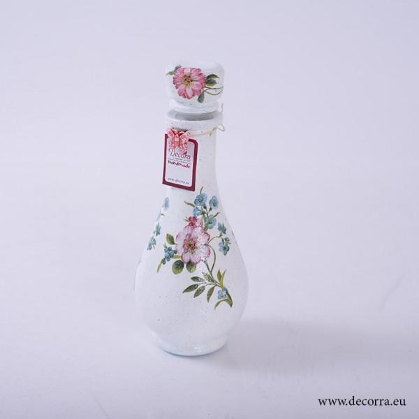 1007-ID. Винтидж ваза, шише Паунови Цветя