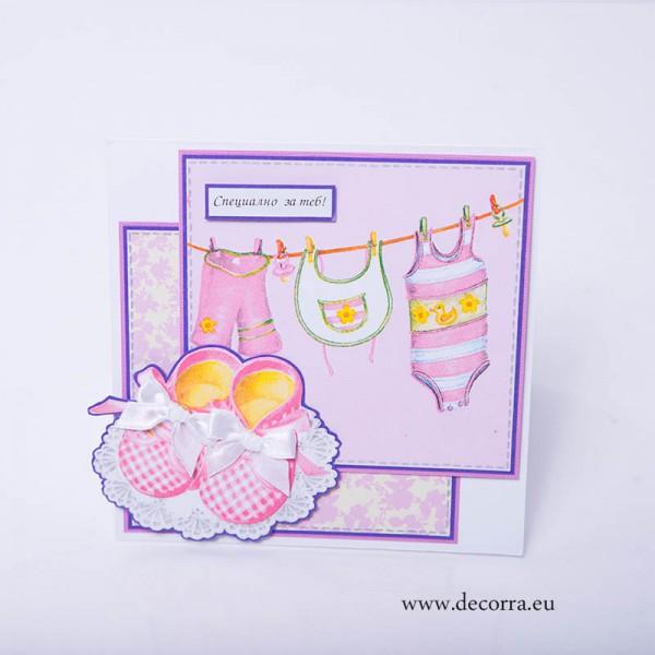 1103-РР. Детска картичка с розови терлици