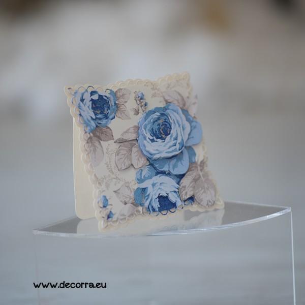 1117-PP. Дамска 3Д картичка сини рози