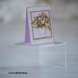1131-РР. Дамска картичка кошница с Теменужки