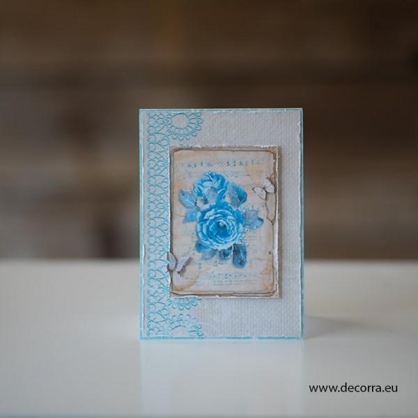 1150-PP. Дамска картичка сини рози