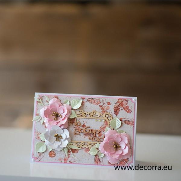1163-РР. Дамска картичка плик за пари розови цветя