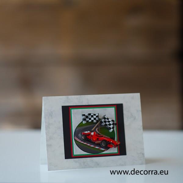 1184-РР. Универсална Мъжка картичка с червено Ферари