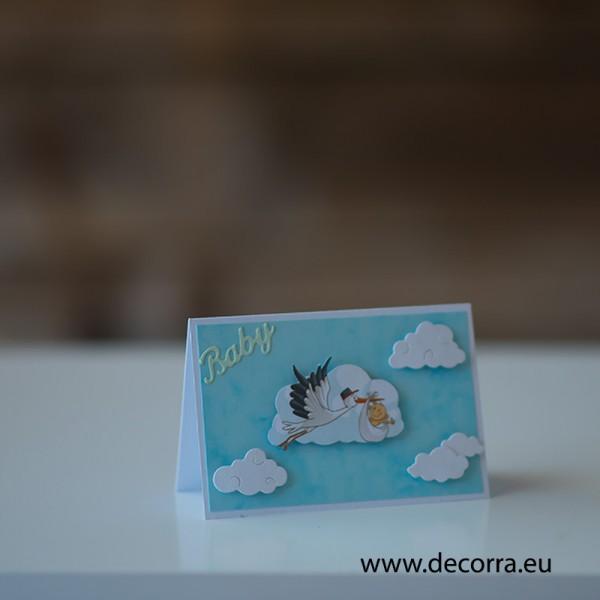 """1211-РР. Детска картичка за момче """"Добре дошло бебе"""""""
