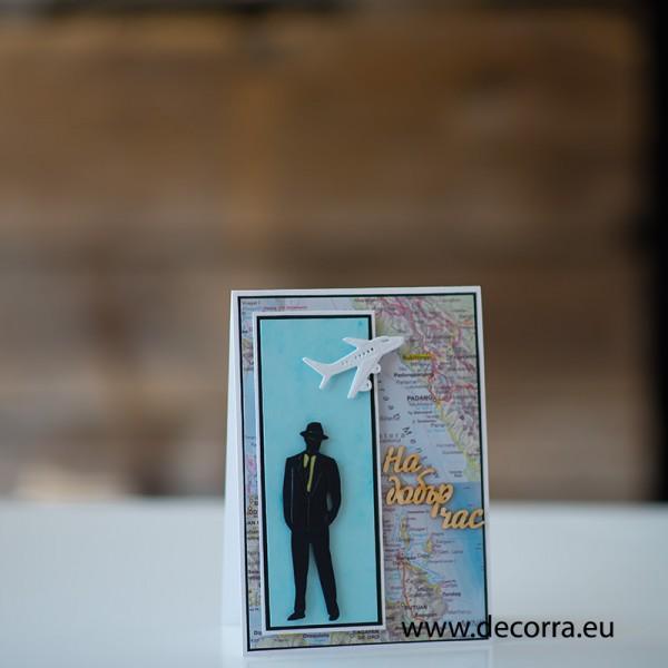 """1225-РР. Мъжка картичка със самолет и карта на света """"На добър час!"""""""