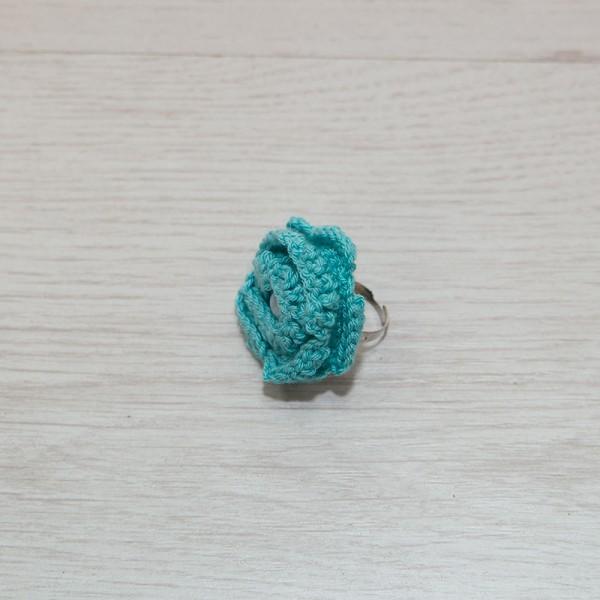 2044-MB. Пръстен Синьо цвете, плетиво