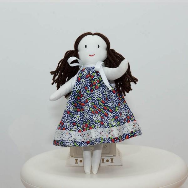3094-DD. Кукла с черна коса за Куклена къща от плат