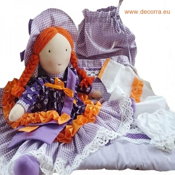 """3095-DD. Кукленски комплект """"Сладък сън"""" в лилаво, 9 части"""