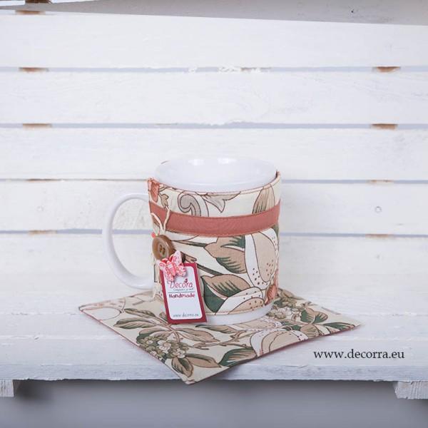 3017-DU. Комплект чаша, подложкa и дрешка Японски флорал