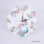 3001-ID. Стенен часовник Паун и Винтидж паунови цветя
