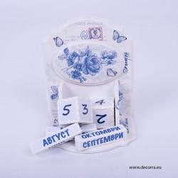 3008-KP. Настолен Вечен календар Винтидж сини рози
