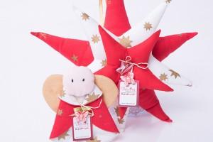Коледна звезда от плат с бебе Ангелче и картичка бяло коледно цвете квилинг