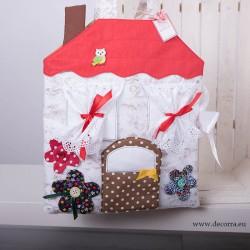 4009-DD. Занимателна текстилна къща, 2 рокли, кукла + фиба