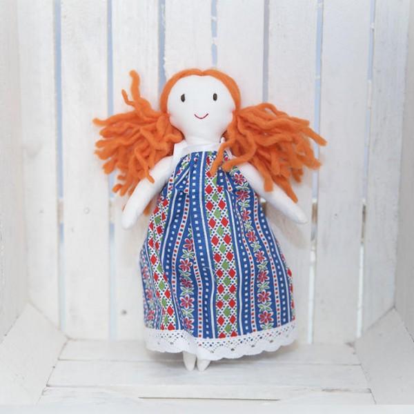 3091-DD. Кукла с червена коса за Куклена къща от плат