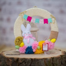 4037-PP. Великденски венец за украса със Зайче и яйца