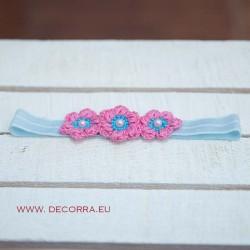 5083-DD. Розово- синя ластична Лента за коса
