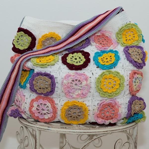 5013-MB. Плетена чанта Пролетни цветя