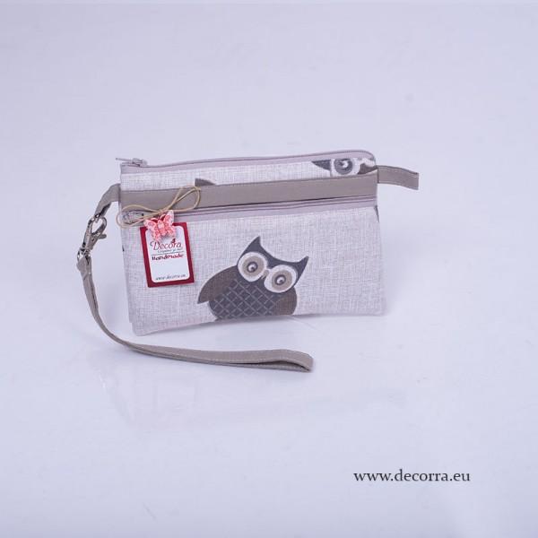 5023-MB. Текстилно Клъч Портмоне сиви Сови