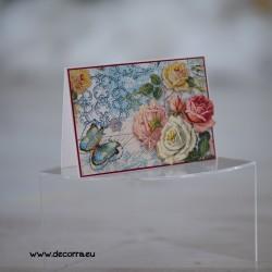 1118-PP. Хоризонтална 3Д картичка Винтидж рози и пеперуда