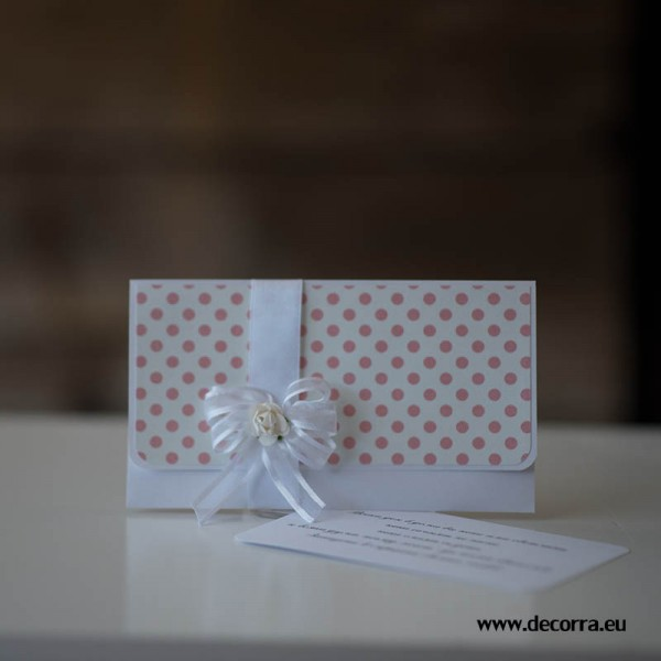 1033-PPP. Сватбен плик за пари розови точки + пожелание