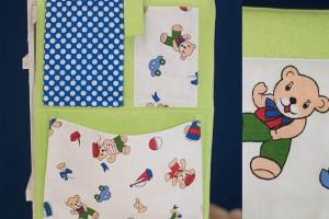 Детски комплект за момче - органайзер за кошара с мечета и несесер за път