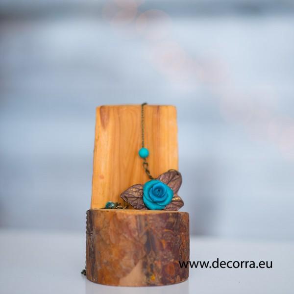 2065-MB. Дамско колие синя роза Тюркоаз