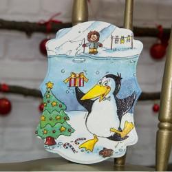 3036-РР. Коледно пано Пингвинче