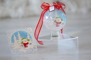 Снежна приказка шейкър Коледна декорация снежен човек и картичка