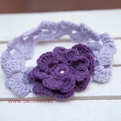 5017-DD. Плетена диадема за коса, Лилаво цвете