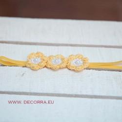 5028-DD.  Лента, ластик за коса, Жълти цветя