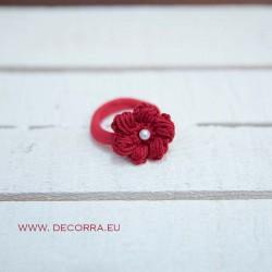 5029-DD. Ластик за коса Червено цвете