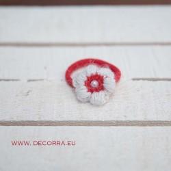 5033-DD. Детски Ластик за коса бяло Цвете