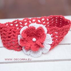 5048-DD. Детска плетена лента за коса, червена