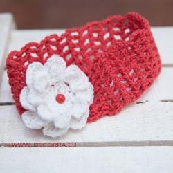 5059-DD. Червена лента за коса с бяло цвете