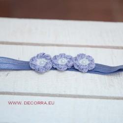 5064-DD. Ластична диадема за коса Лилави цветя