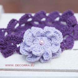5070-DD. Плетена лента за коса с цвете Лила