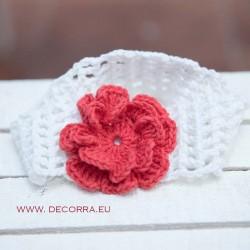 5072-DD. Бяла лента за коса с червено цвете