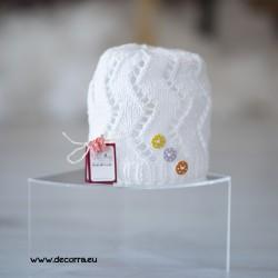 5078-DD. Детска пролетна шапка за момиче, бяла