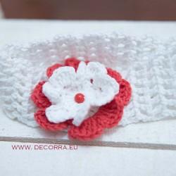 5080-DD. Детска лента за коса с червено-бяло цвете