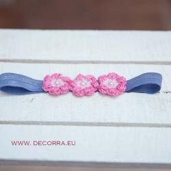 5081-DD. Розово - лилава Ластична лента за коса